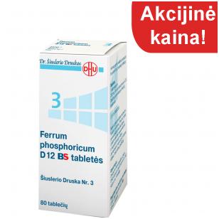 Šiuslerio druska Nr.3 - Ferrum phosphoricum D12 BS tabletės  (80 tablečių)