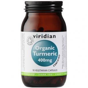 """""""Viridian"""" maisto papildas """"Organic Turmeric 400mg"""" (ciberžolė) 90 kapsulių."""