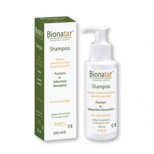 BIONATAR Šampūnas psoriazės ir seborėjinio dermatito požymiams lengvinti 200 ml.